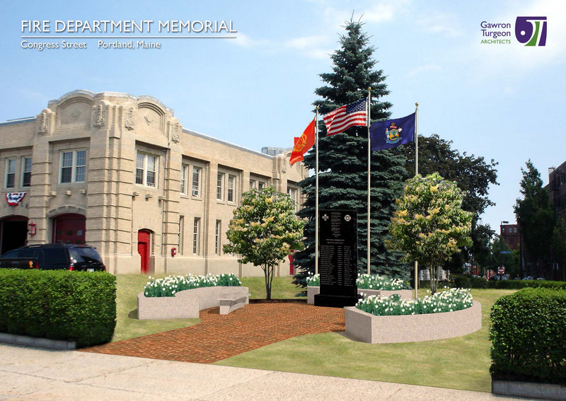 An artist's rendering shows the design of the memorial to fallen firefighters at Central Station on Congress Street.