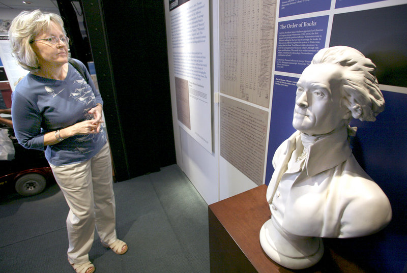 Karen Olson of Cumberland reads about Thomas Jefferson in the Library of Congress'