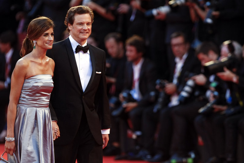 """Actor Colin Firth and his wife Livia Giuggioli arrive for the premiere of his new movie, """"Tinker, Tailor, Soldier, Spy,"""" at the 68th edition of the Venice Film Festival in Venice, Italy, on Monday."""