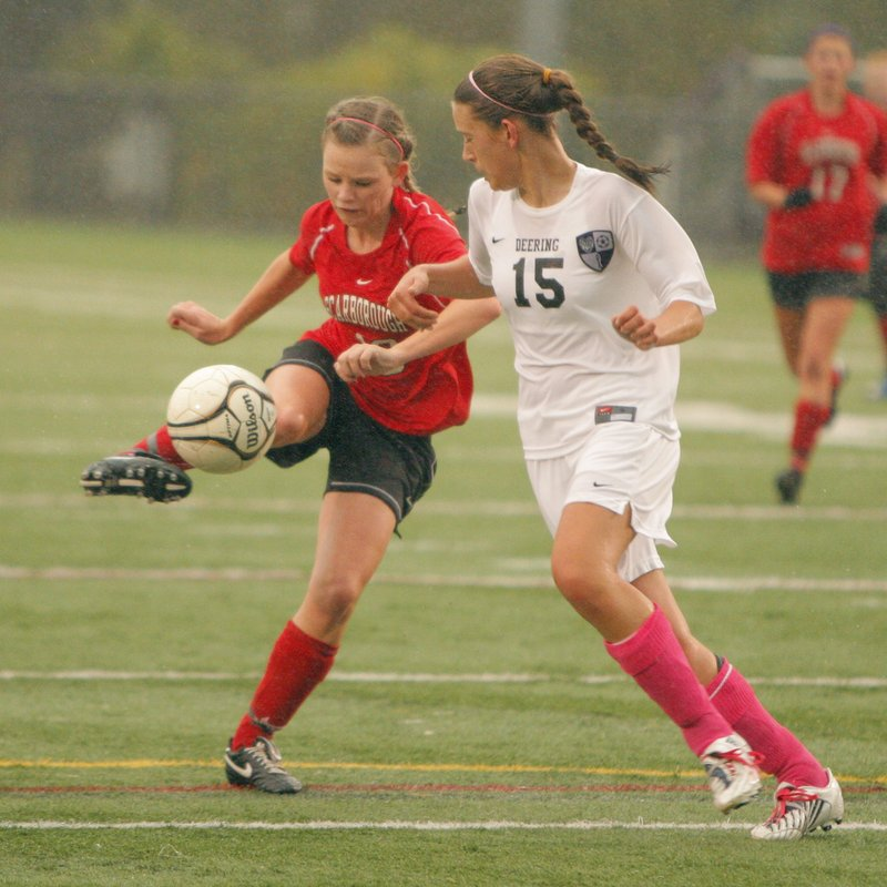 Haley Carignan, left, is a senior forward on the Scarborough girls soccer team this season. She is adept as a playmaker and has led the Red Storm in scoring the past two seasons.