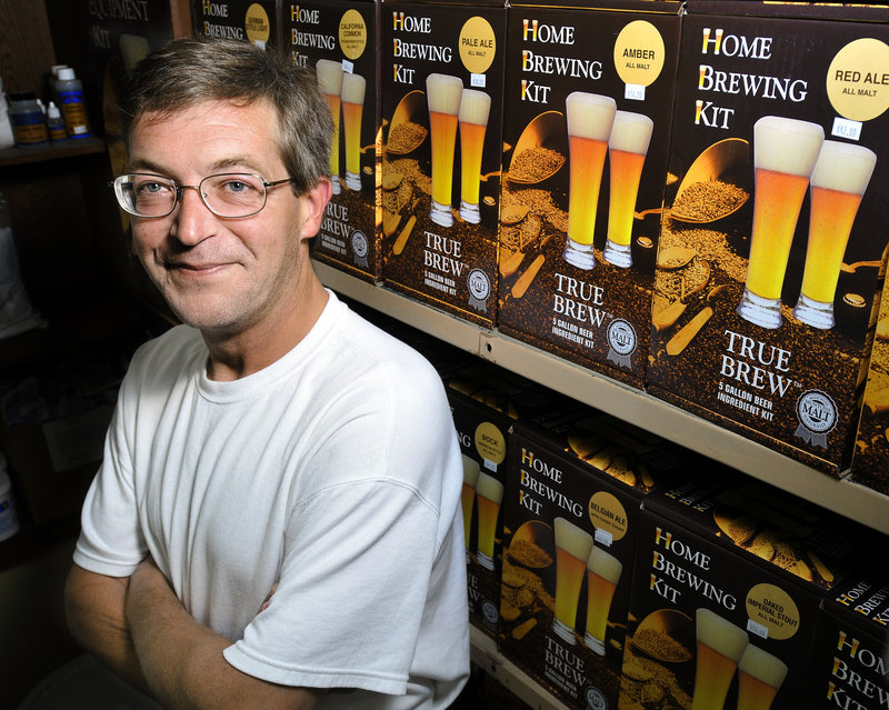 """Ed McDowell, owner of The Hop Shop in Gray, says making your own beer is a simple process. """"If you can boil water, you can brew beer,"""" he says. """"It's as simple as making tea."""" It's even easier to make wine, because there is no cooking involved."""
