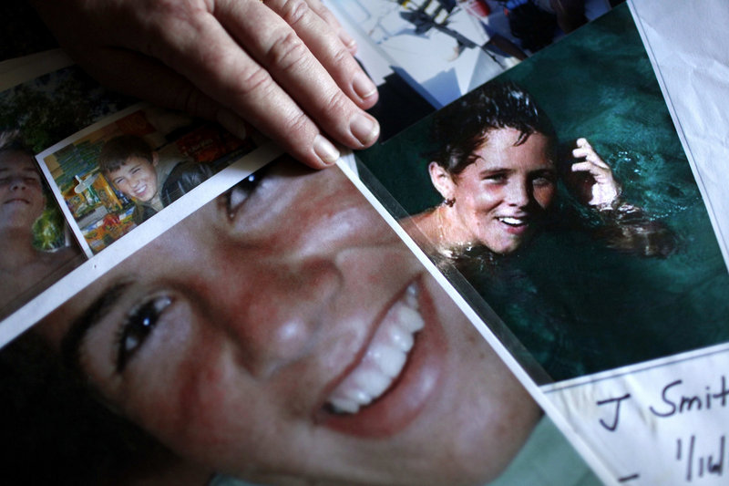 Lori Smith displays images of her son Nolan at her home in Aliso Viejo, Calif. Nolan died in 2009 at the age of 15 from an overdose of drugs that included Xanax and Valium.