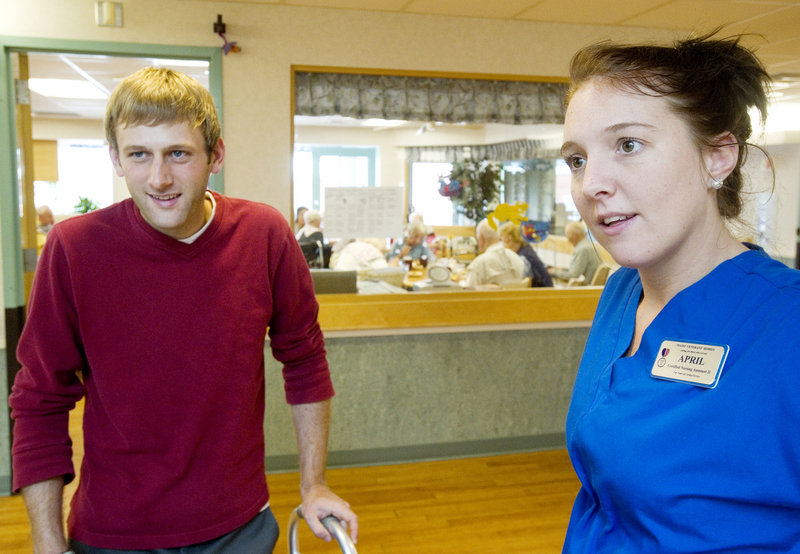 April Noyes, a CNA in the Alzheimer's unit at the Maine Veterans' Home in Scarborough, says that Evan Carroll was popular with residents during his nine-day stay, which ended Wednesday. He wants to incorporate what he learned into his work.