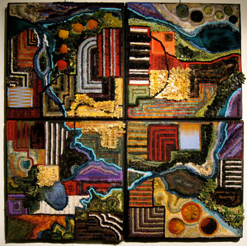 """Tracy Jamar's """"Land Parcels Quad,"""" from """"Beyond Rugs!"""", opening Saturday at the Farnsworth Art Museum in Rockland."""