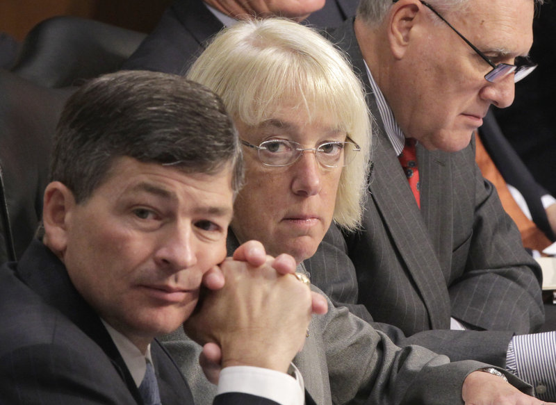 Joint Select Committee on Deficit Reduction Co-Chairs Rep. Jeb Hensarling, R-Texas, left, and Sen. Patty Murray, D-Wash., listen as Congressional Budget Office Director Douglas Elmendorf testifies before the committee on Tuesday. The committee is charged with cutting the budget if Congress as a whole fails to do so.