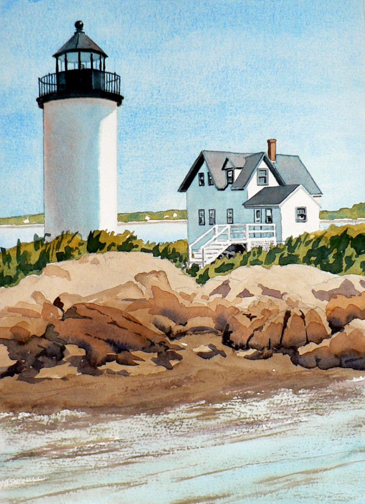 """Dennis Rafferty's depiction of the Goat Island Lighthouse for the """"Trust in Art"""" auction."""