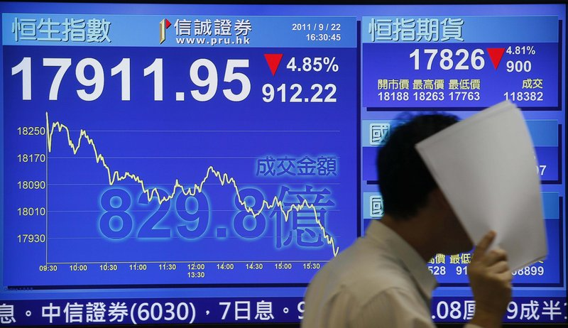 Fears of a global recession were evident in the closing numbers Thursday on Wall Street and Hong Kong. Hong Kong's benchmark Hang Seng stock index, above, dove 4.9 percent to 17,911.95. At the New York Stock Exchange, below, the Dow fell 391.01 points.