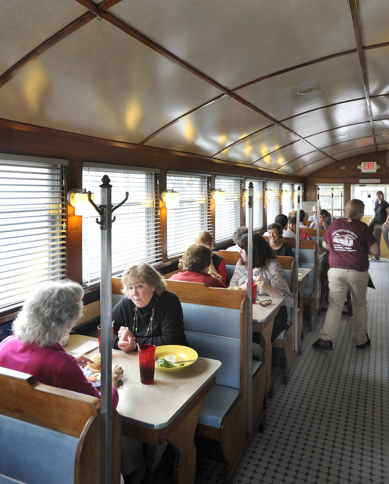 """Patrons fill the booths of the Miss Portland Diner on Marginal Way in Portland on Friday. Owner Tom Manning said the part of the city in which the diner is located, the Bayside area, is """"starting to look more and more like its own little village."""""""