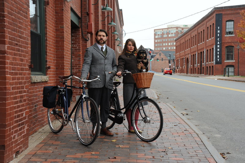 Portland Velocipede owners Josh and Gillian Cridler are all tweeded up.