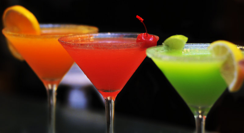 At the West Meadow Pub at the Meadowmere Resort in Ogunquit, one can order any of these Skittles martinis – orange, strawberry, or lemon lime – all creations of bartender Charles Nedzbala.