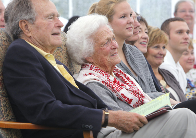 """""""George Bush and I feel at home here,"""" said Barbara Bush, with the former president in Kennebunkport on Thursday."""