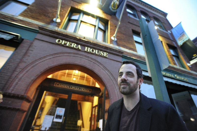 Founder and director Ben Fowlie stands outside Camden Opera House during the opening reception Thursday for the Camden Film Festival.