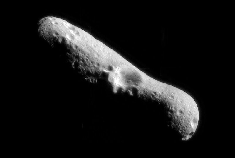 An asteroid like Eros would inflict major damage in a collision with Earth. The crater on the surface of Eros measures four miles across.