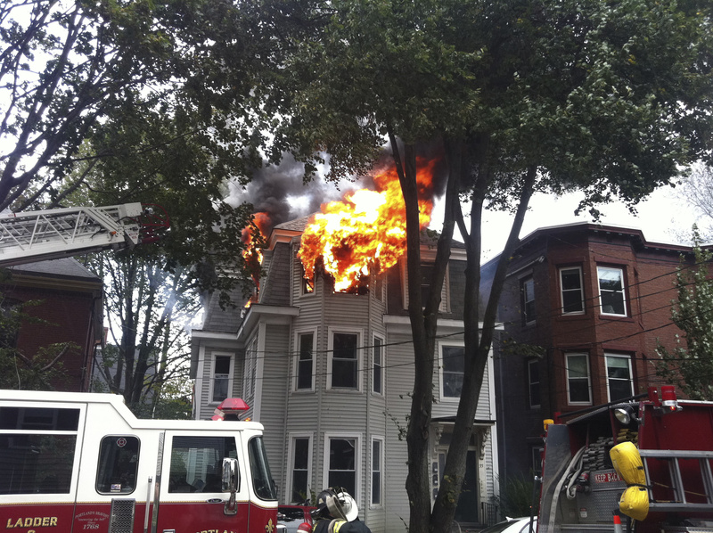 A fire at 33 Grant St. in Portland destroyed a third-floor apartment on Wednesday.