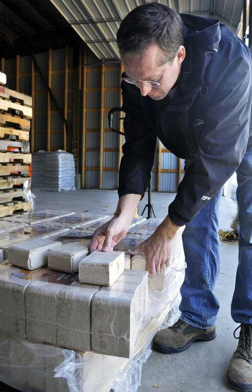Mike Sullivan is Maine's sole distributor of Canawick Hardwood Bricks. He expects to sell 2,000 tons of the bioproduct this heating season, at up to $280 per ton.
