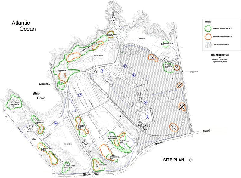 A map of the changes to the plan for the Fort Williams arboretum.