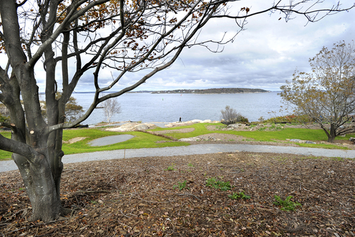 The arboretum work at Fort Williams has improved one of the views of Ram Island Light. The first landscape cost about $330,000, even with some of the material – like the stones for the walls – and much of the labor donated by volunteers.