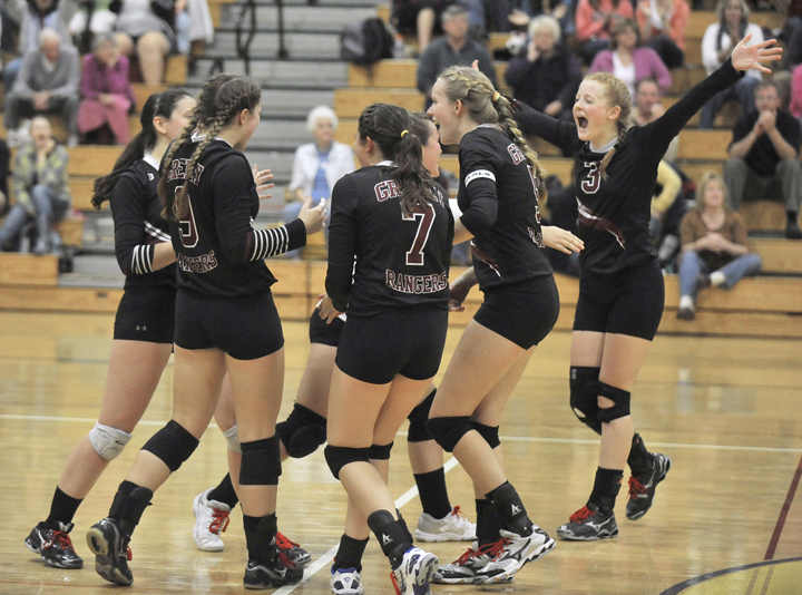 Greely celebrates its unbeaten regular season Friday night after defeating Falmouth in three games. The Rangers will go into the Class A state tournament next week as the No. 1 seed.