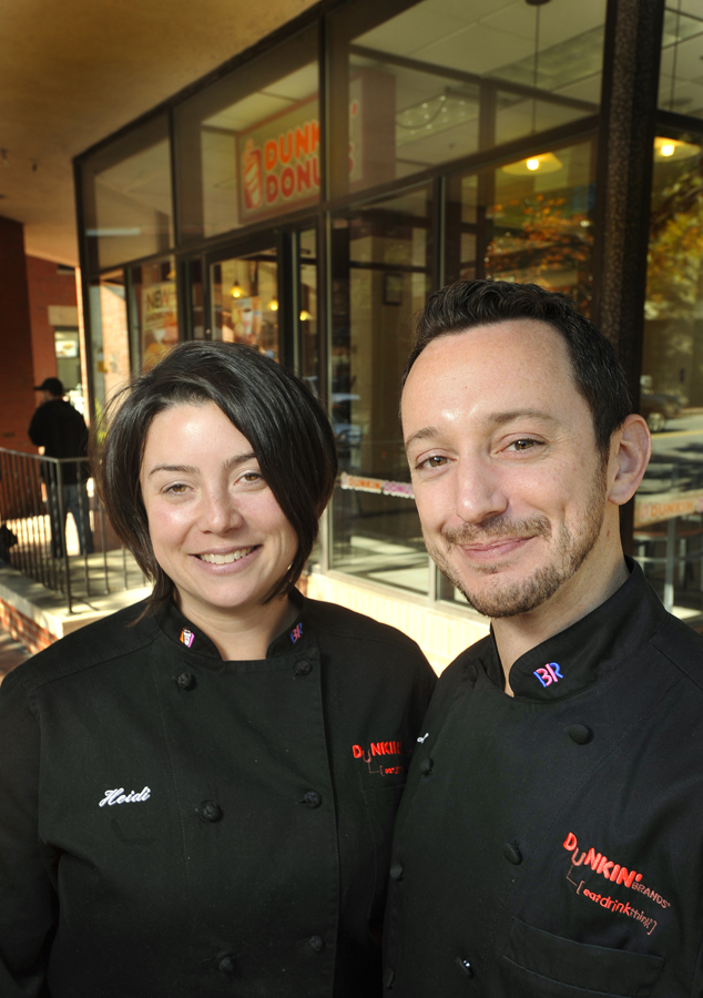 Heidi Curry and Jeff Miller, culinary team chefs for Dunkin' Donuts product development, were in Portland to visit the store at One City Center and to cook on a local TV show.