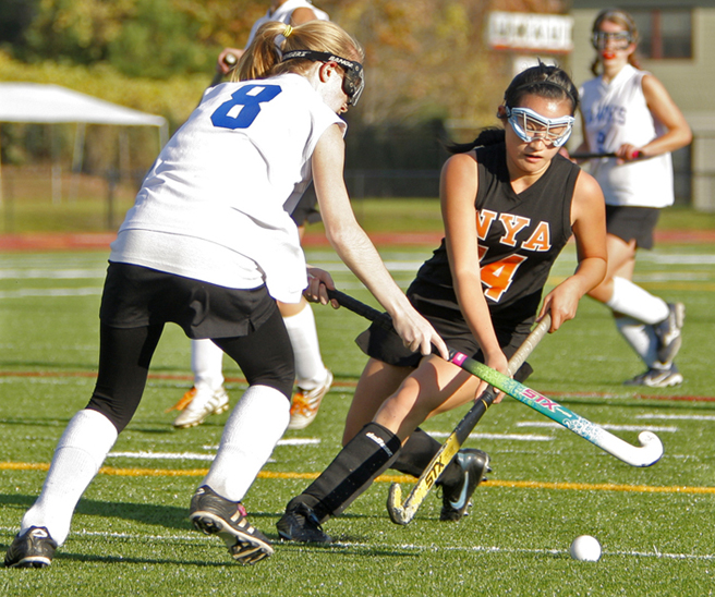 Emma Warren of North Yarmouth Academy looks to steal the ball from Brittany Ouellette of Sacopee Valley during the Panthers' 2-1 win Tuesday.