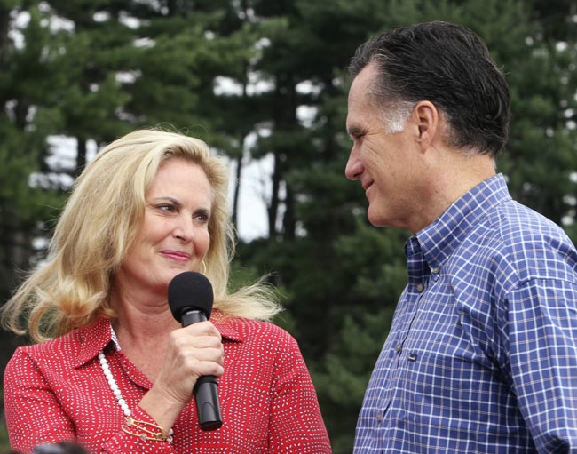 In this Sept. 5, 2011, file photo Ann Romney looks at her husband, Republican presidential candidate and former Massachusetts Gov. Mitt Romney, after introducing him to a crowd on Labor Day in Manchester, N.H. The Romneys have been married for 42 years.