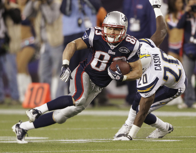 New England Patriots wide receiver Wes Welker breaks away from San Diego Chargers defensive back Antoine Cason during a game on Sept. 18, 2011.