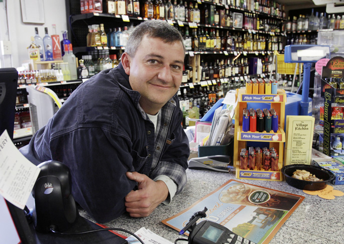 Mark Ferguson stands in his convenience store today in Poland Springs. Ferguson is a spokesman for a political action committee that opposes two statewide referendums seeking approval for a casino. The Friends of the Oxford Casino is urging Mainers to oppose Questions 2 and 3 on the Nov. 8 ballot.