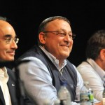 A statewide survey released Wednesday shows a surge in the job approval rating of Gov. Paul LePage, center.