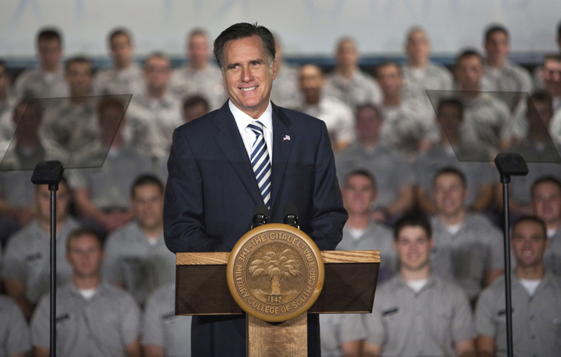 Republican presidential candidate, former Massachusetts Gov. Mitt Romney, speaks to Citadel cadets and supporters during a campaign speech on The Citadel campus in Charleston, S.C., Friday. Mitt Romney The Citadel