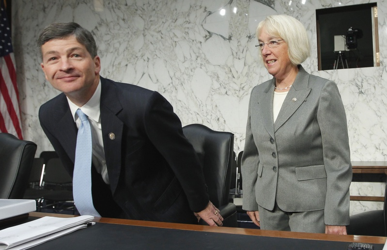 Joint Select Committee on Deficit Reduction Co-Chairs Rep. Jeb Hensarling, R-Texas, and Sen. Patty Murray, D-Wash., arrive on Capitol Hill in Washington on Sept. 13 to hear from Congressional Budget Office Director Douglas Elmendorf about the national debt.