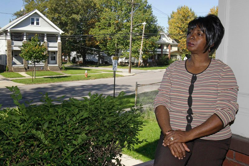TRYING TO FIND WORK: Selena Forte, 55, poses for a photo at her home in Cleveland, Ohio. After two years on the unemployment rolls, Forte thought she had the right experience for a temporary job opening at FedEx. But she says a job recruiter told her the company wouldn't consider her because she had been out of work too long.