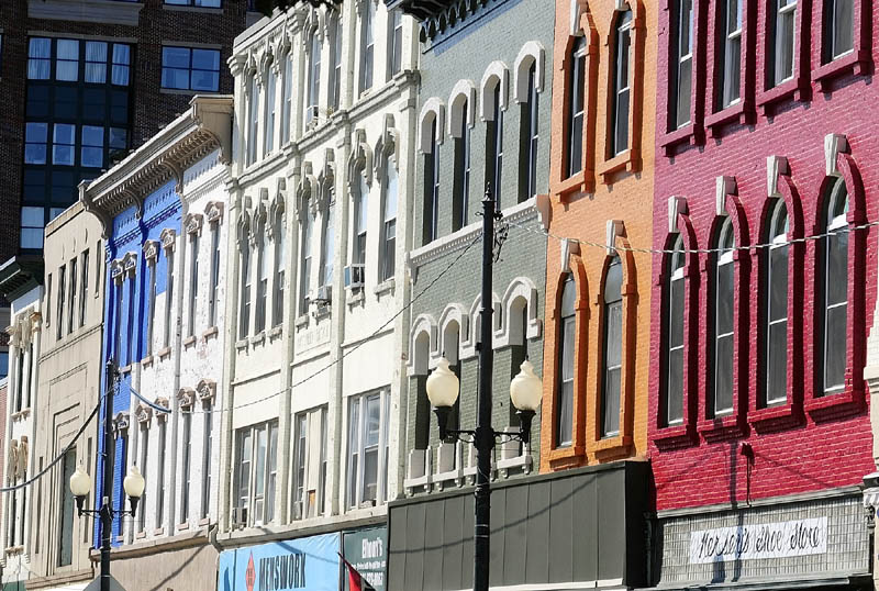 A SPLASH OF COLOR: Several buildings in downtown Augusta have been changed from white to a variety of bright, historic colors — a change that didn't happen by accident. It wasn't something any of the Augusta businesses had planned until they coordinated their paint jobs with each other through the Augusta Downtown Alliance, a group of advocates for the city's downtown, as seen in this 2014 file photograph.