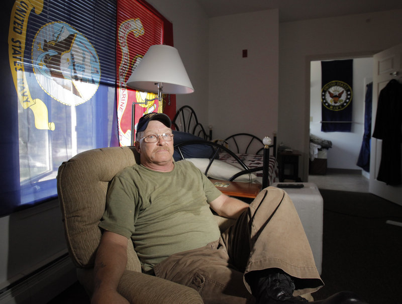 Mike Wells, the resident liaison at Huot House in Saco, lives in one of 10 efficiency apartments there. Being around other combat veterans aids the transition back into the community from being homeless, said Wells, who served in the Marines, the Navy and the National Guard.