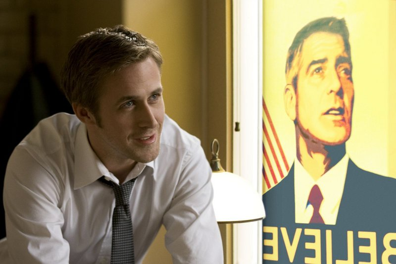 Ryan Gosling and George Clooney (poster, right) star in The Ides of March.