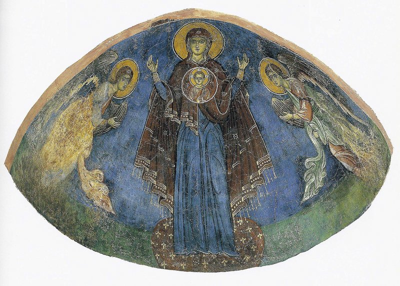 This 13th-century fresco depicts the Virgin Mary flanked by Archangels Michael and Gabriel. It is one of the frescoes that will be returned to Cyprus early next year. Antiquities smugglers looted frescoes from a church in northern Cyprus following a 1974 Turkish invasion that split the island into a Turkish-speaking north and a Greek-speaking south.