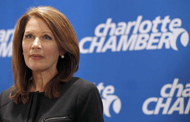 Rep. Michele Bachmann, R-Minn., speaks to the media Thursday in Charlotte, N.C. A favorite among tea partyers and evangelical voters, she is betting her campaign on Iowa.