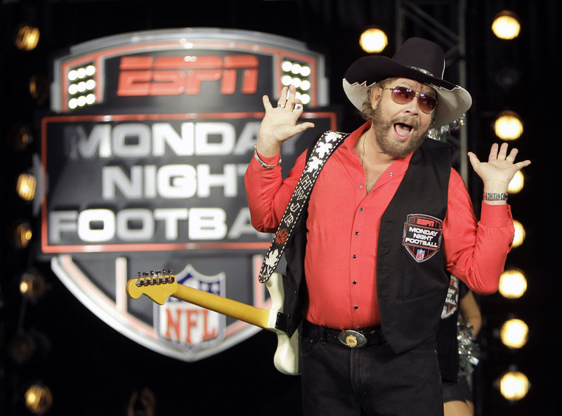 "Hank Williams Jr. performs the intro to ""Monday Night Football."" ESPN pulled the song over his comments."
