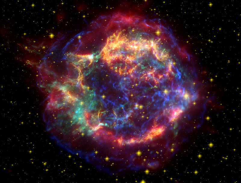 A false-color image provided by NASA shows the supernova remnant Cassiopeia A. Observations of supernovas, which are exploding stars, led scientists to believe that the universe is expanding at an accelerating rate.