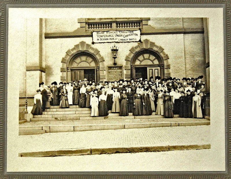 This undated photograph shows the Maine Women's Christian Temperance Union Convention in session at the First Universalist Church in Congress Square, Portland.