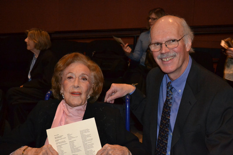 "McPartland with the filmmaker Huey at a screening for cast and crew of ""Marian McPartland's Piano Jazz."""
