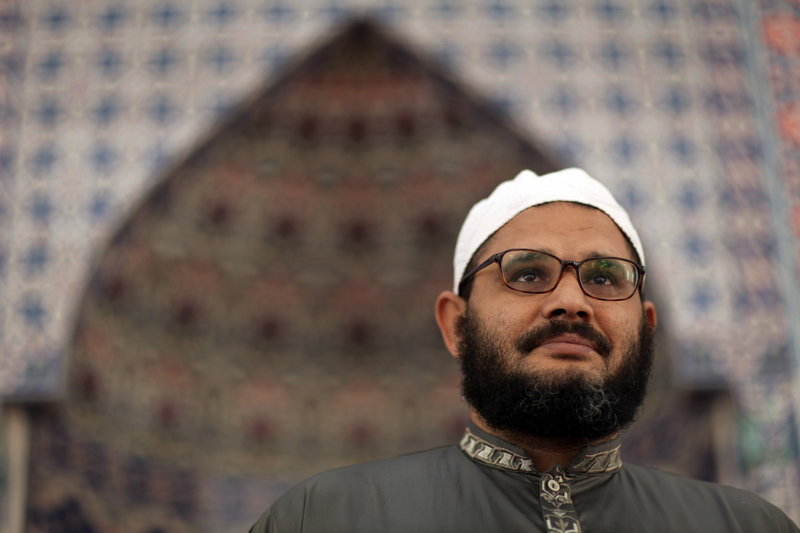 Sheikh Reda Shata stands Monday at his mosque, The Islamic Center of Monmouth County, in Middletown, N.J. The NYPD secretly monitored the Muslim leader.