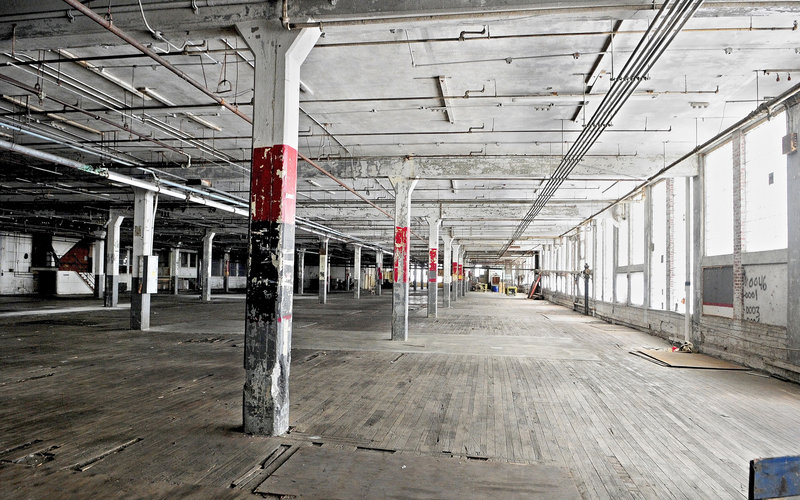 The interior of Bates Mill No. 5 in Lewiston.