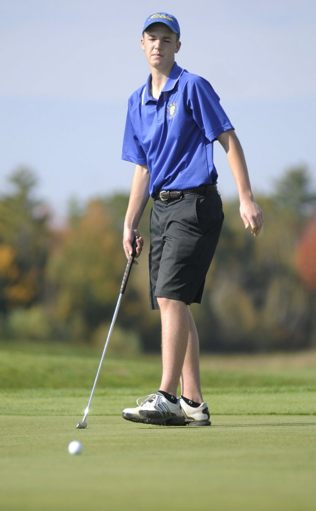 Matt Packard was one of the two Falmouth golfers who tied for low score Monday as the Yachtsmen, in their first Class A season, won the state title.