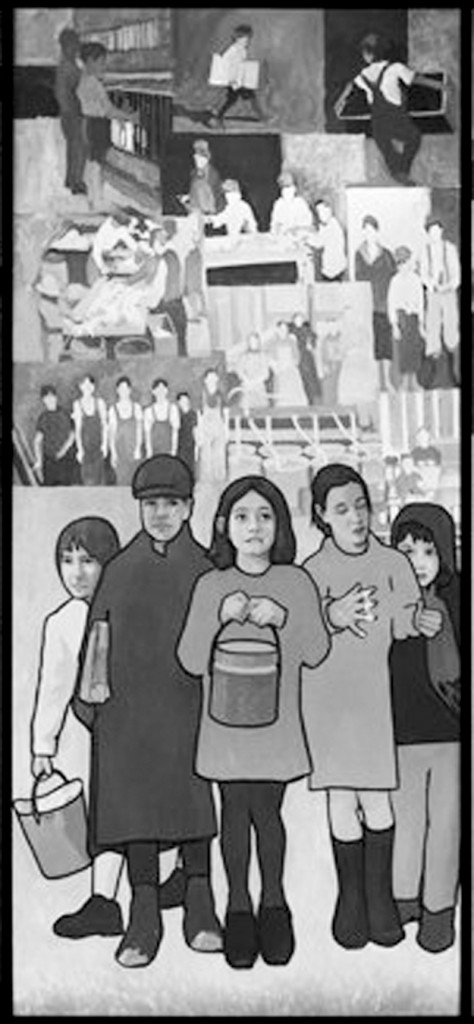 Child labor, as depicted in Judy Miller's mural that formerly hung in the Maine Department of Labor, was once common in Maine.