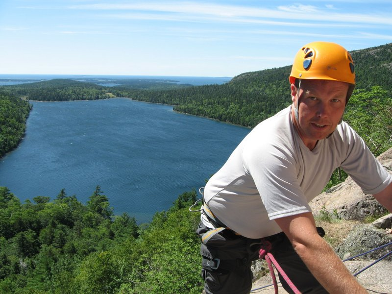 Climbing South Bubble with Acadia Mountain Guides.
