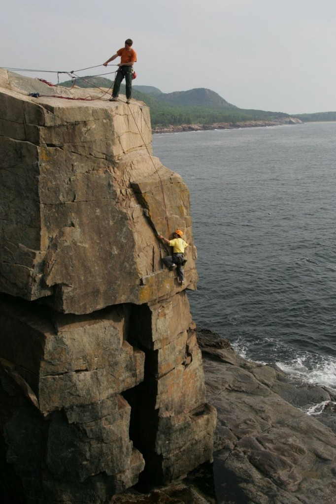 Climbing Rock Lobster at Otter Cliff with Acadia Mountain Guides.