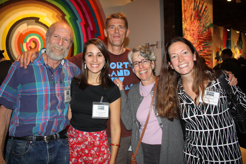 Board members Stuart Gersen of Longfellow Books; Brianna Courneya McCabe, a citizen member; Bill Duggan of Videoport; Joan Leitzer, a citizen member; and Danielle Marks, co-chair of the event committee.