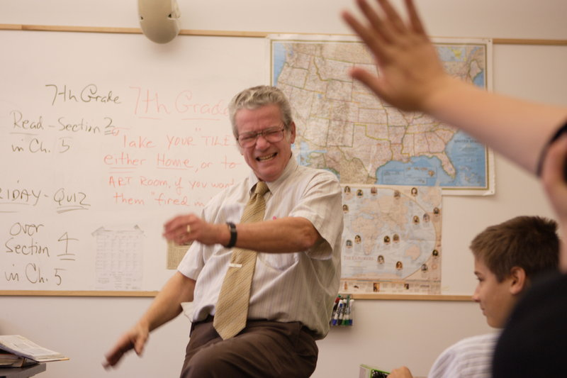 """Paul Flaherty was a """"passionate, energized and excitable"""" teacher, says a former student. In this 2005 photo, he engages students at North Yarmouth Academy, where he taught for 41 years."""