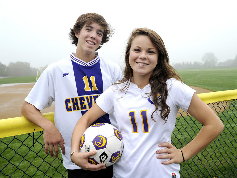 Brother and sister Elliot and Abby Maker are key players for Cheverus, which will host regional playoff prelims Saturday in boys' and girls' soccer.