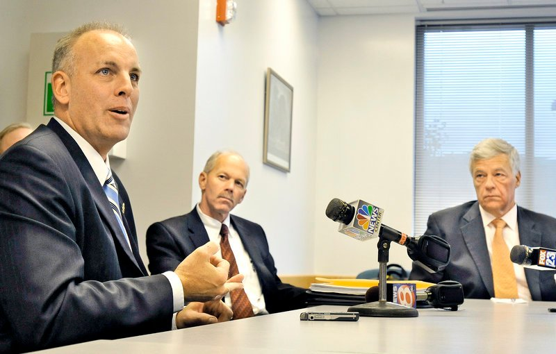 """Michael Wardrop of the Maine Drug Enforcement Agency, from left, meets with Bangor Police Chief Ron Gastia and U.S. Rep. Mike Michaud at the Cumberland County Sheriff's Office on Thursday to discuss the dangers of the illegal new drug called """"bath salts."""""""
